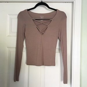 Me To We Long Sleeve Taupe Crop Top